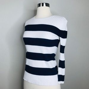 J. McLaughlin Ribbed Navy & Ivory Striped Sweater